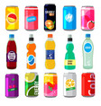 fizzy drinks in glass bottles colored vector image vector image