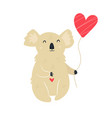 funny cute koala with heart shaped balloon vector image