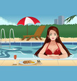 girl relaxing beside the swimming pool vector image vector image