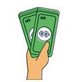 hand holding banknote money cash dollar vector image