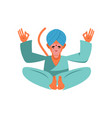 hanuman sacred monkey in india animal yoga lotus vector image