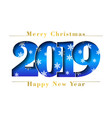 happy new year merry christmas card blue number vector image vector image