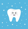 healthy tooth icon with smiling face and big eyes vector image vector image