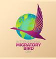 international migratory bird day logo icon design vector image vector image