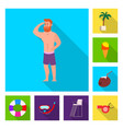 isolated object of pool and swimming sign vector image vector image
