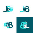 lb letters logo with accent speed in light green vector image vector image