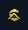 letter c shape house logo vector image