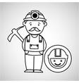 mine worker pickaxe with face icon vector image