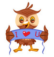 owl with i love you sign on white background vector image vector image