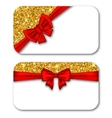 Paper Cards with Red Bow Ribbon and Golden Dust vector image vector image