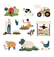 people working at farm and garden set vector image vector image