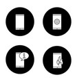 phone communication glyph icons set vector image