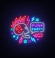 punk party neon sign rock music logo vector image vector image