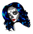 sad girl with blue hair on vector image vector image