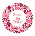 Save the Date romantic circular symbol vector image vector image