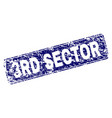 scratched 3rd sector framed rounded rectangle vector image vector image