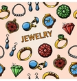 Seamless jewelry handdrawn pattern with- rings vector image vector image