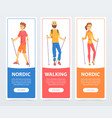 set of banners with people nordic walking health vector image vector image
