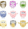 Set of nine cartoon owls with various emotions vector | Price: 1 Credit (USD $1)