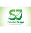 sj green leaf letter design logo eco bio leaf vector image vector image