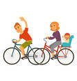 sportive family rides bicycles with baby isolated vector image vector image