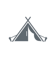 Stylized icon of tourist tent black vector image