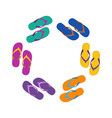 summer colorful flops in circle vector image vector image