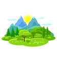 summer landscape with trees mountains and hills vector image vector image