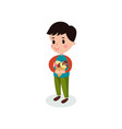 sweet boy holding two ice creams cartoon vector image