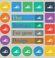 swimmer icon sign Set of twenty colored flat round vector image