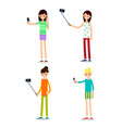 woman selfie isolated friends do joint vector image vector image