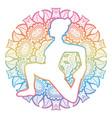 women silhouette one-legged king pigeon yoga pose vector image vector image