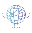 globe world kawaii caricature with open arms vector image