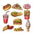 fast food pictures burgers cola sandwich hotdog vector image