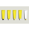 Tubes for packaging yellow set vector image
