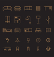 Set of furniture outline icon vector image