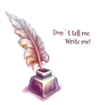 feather with inkwell vector image