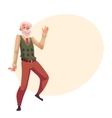 Old senior gray-haired man dancing happily vector image