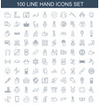 100 hand icons vector image vector image