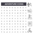adventure line icons signs set outline