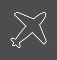 airplane icon in thin outline style aviation vector image