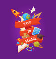 back to school background cartoon elements vector image vector image