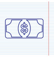 bank note dollar sign navy line icon on vector image vector image