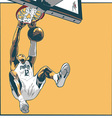 Basketball player dunking vector image