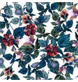 beautiful hibiscus tropical pattern vector image