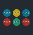 black glasses icons set on white background vector image vector image