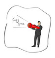 businessman holding flashlight with copyspace vector image vector image