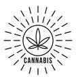 cannabis on sun logo outline style vector image vector image