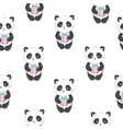 cartoon seamless panda pattern vector image