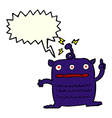 cartoon weird little alien with speech bubble vector image